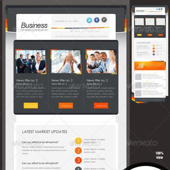 Business eNewsletter Design - Orange & Grey