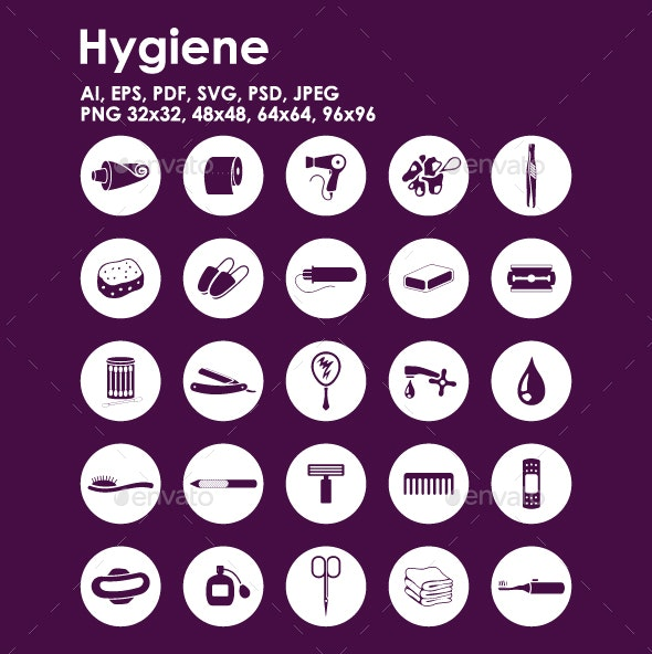 25 Hygiene icons - Objects Icons