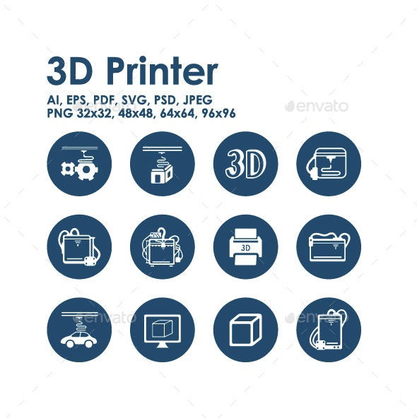 12 3d printer icons - Technology Icons