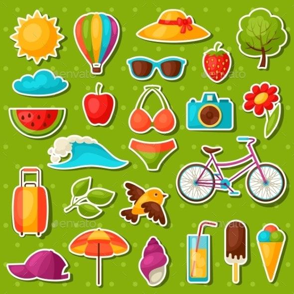 Set of Summer Stickers - Seasons Nature