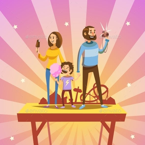 Family in Amusement Park