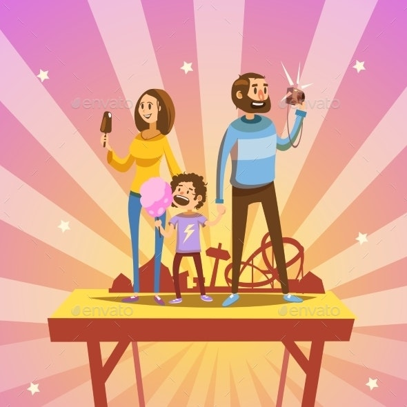 Family in Amusement Park - Decorative Symbols Decorative