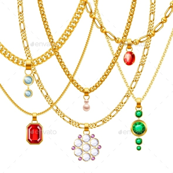 Golden Chains with Pendants Set - Man-made Objects Objects