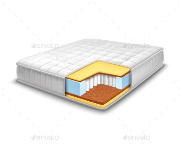 Mattress Cut Out with Layers View - Man-made Objects Objects