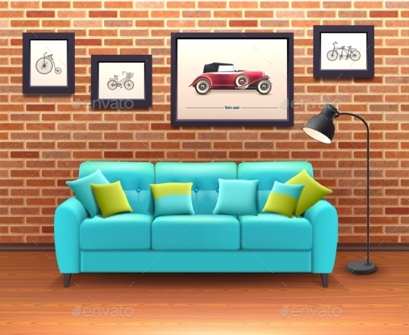 Interior with Sofa Realistic Illustration - Backgrounds Decorative