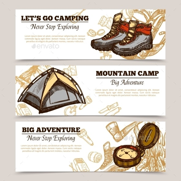 Tourism Camping Hiking Banners - Sports/Activity Conceptual