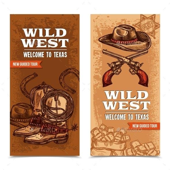 Cowboy Wild West Vertical Banners