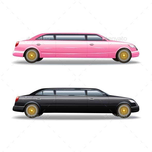 Two Limousine Icons Set  - Man-made Objects Objects