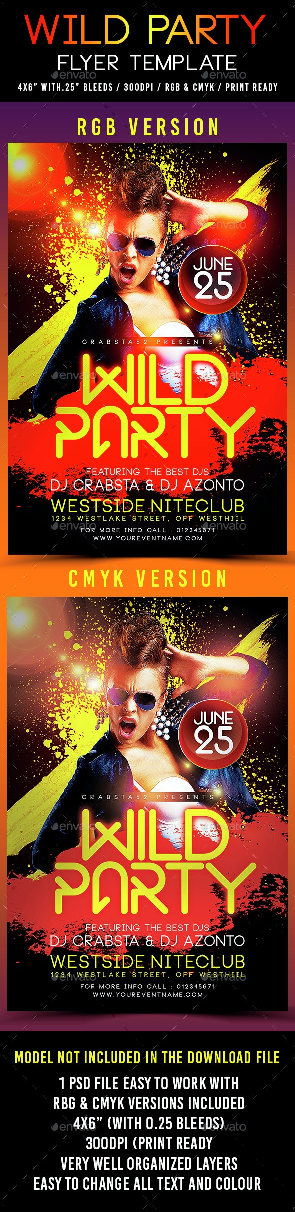 Wild Party Flyer Template - Clubs & Parties Events