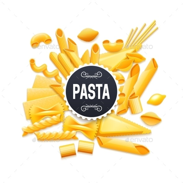 Italian Traditional Dry Pasta Realistic Pictogram - Food Objects
