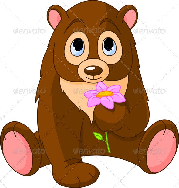 Cute Bear holding flower - Animals Characters