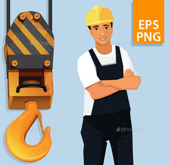Construction Worker by the Crane Hook - People Characters