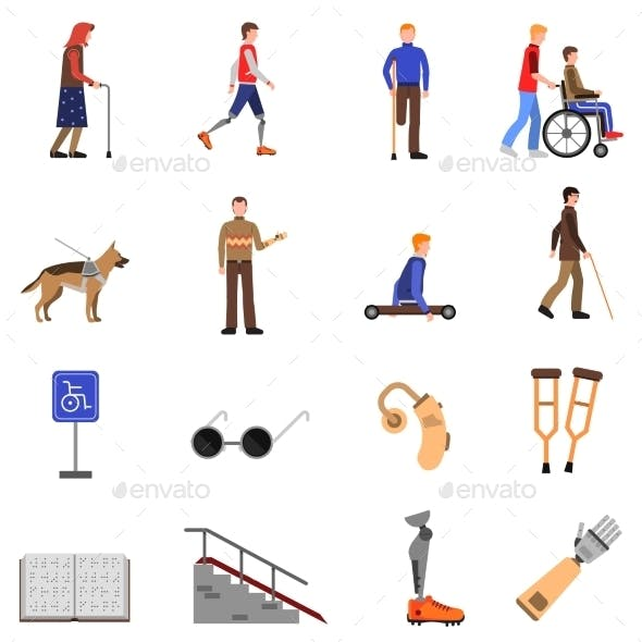 Disabled Handicapped People Flat Icons Set