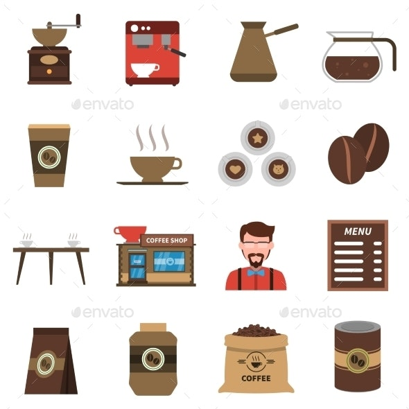 Coffee Shop Flat Icons Set - Food Objects