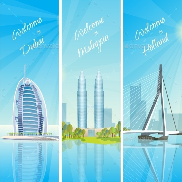 Modern Cityscapes 3 Banners Set - Travel Conceptual