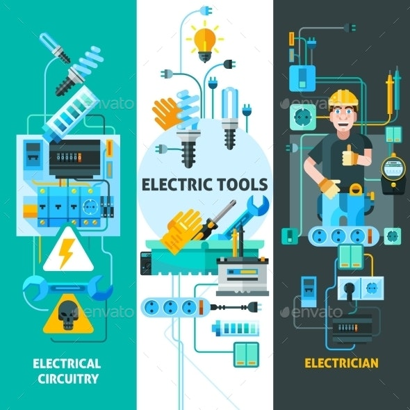 Electricity Banners Set  - Industries Business