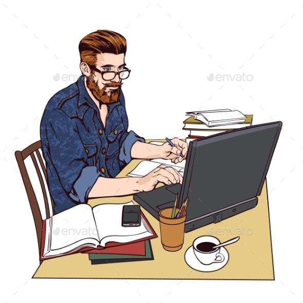 Hipster Man in a Jeans Jacket at Work - Concepts Business