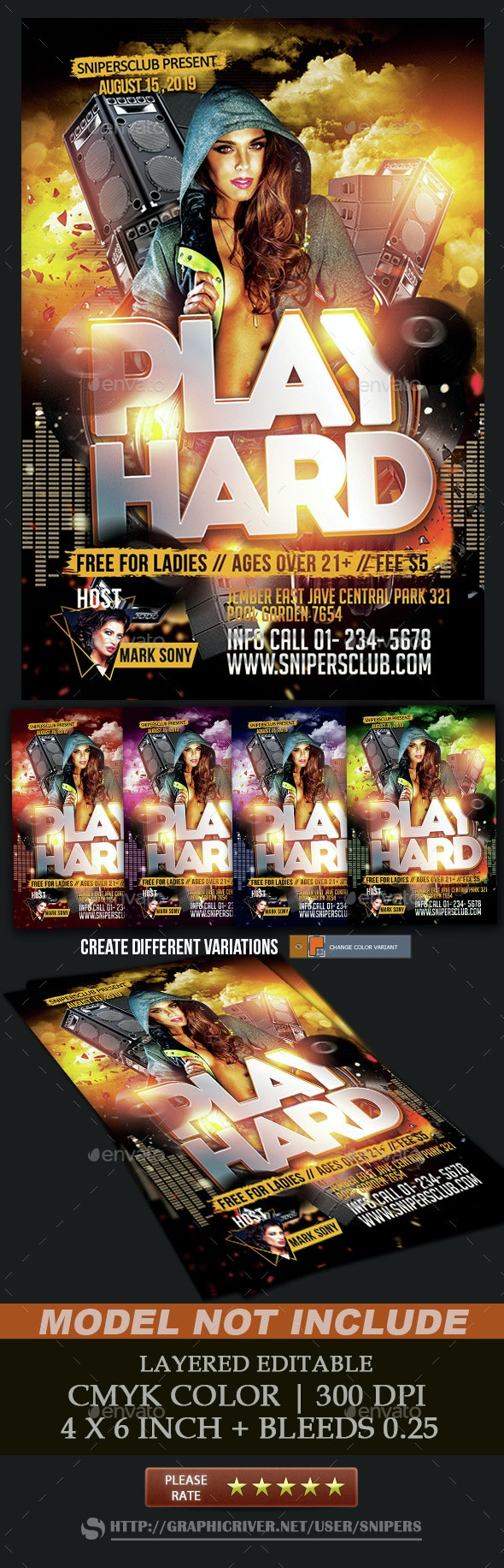 Play Hard party Flyer - Events Flyers