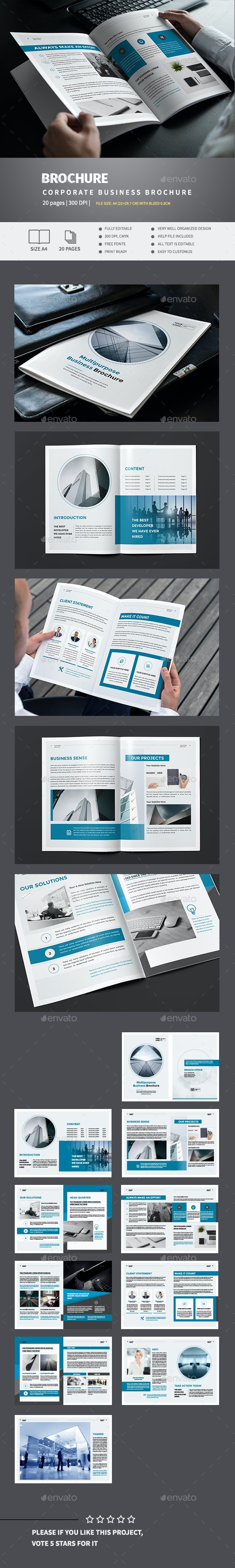 Blue Business Brochure Template - Corporate Brochures