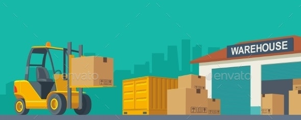 Forklift Carries a Box in Storage - Industries Business