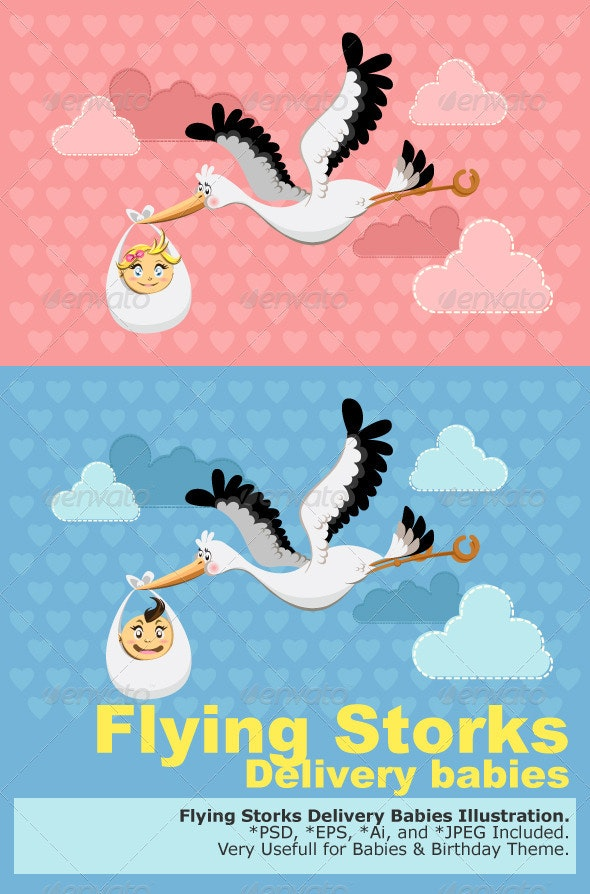 Flying Stork Delivery Baby - Birthdays Seasons/Holidays