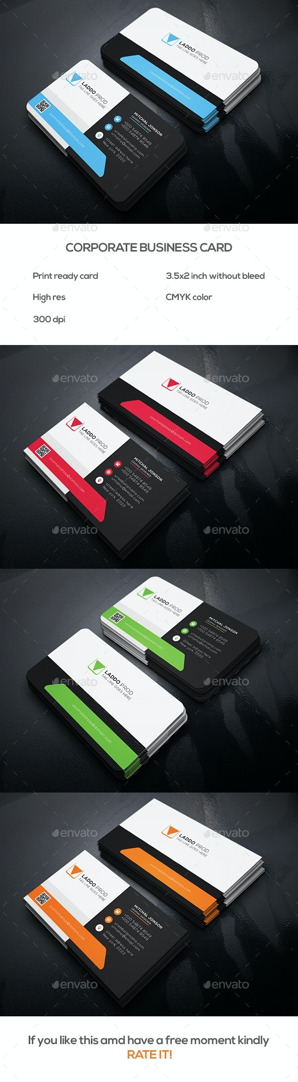 Corporate Business Card v1 - Business Cards Print Templates