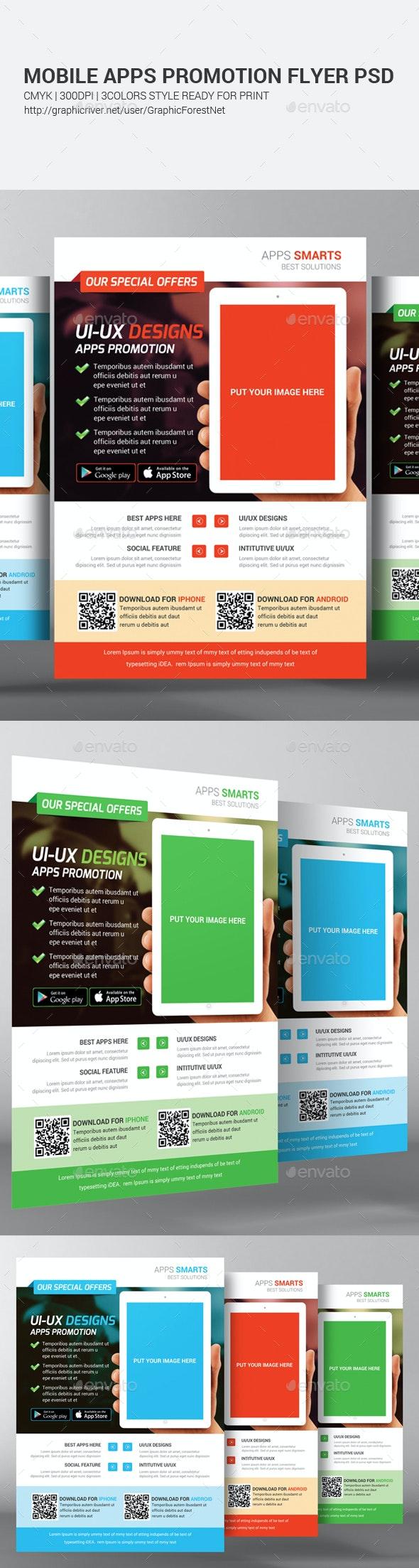 Mobile Apps Promotion Flyers Bundle - Corporate Flyers