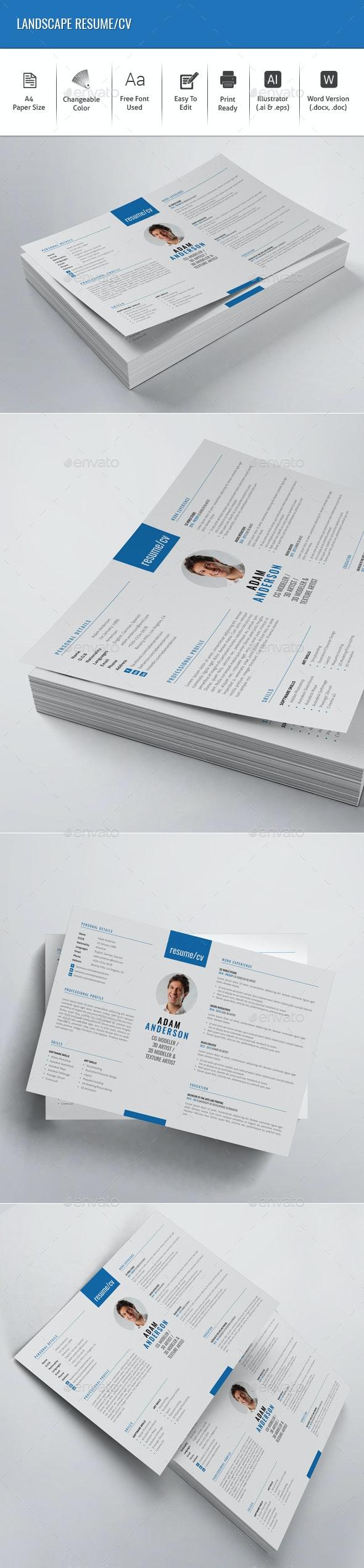 Landscape Resume/CV - Resumes Stationery