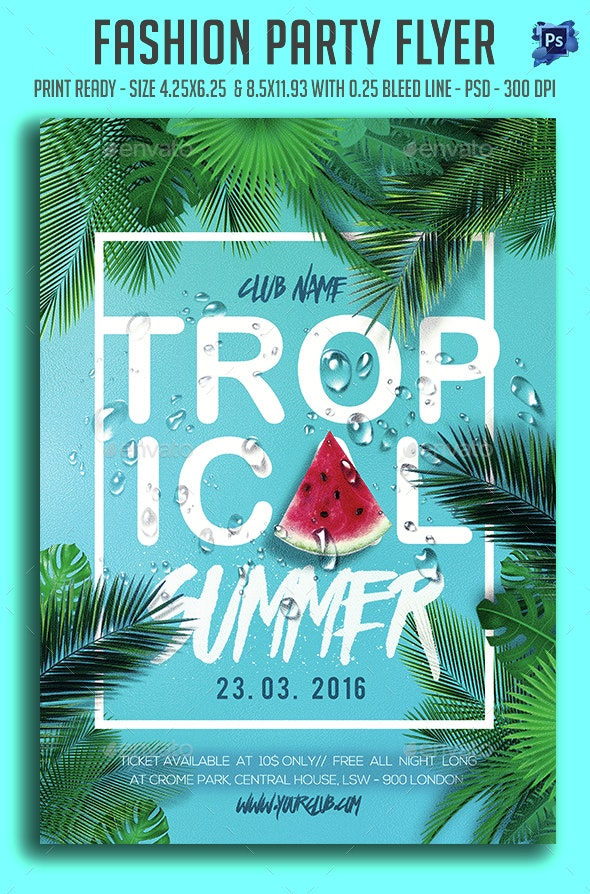 Topical Summer Party Flyer  - Clubs & Parties Events