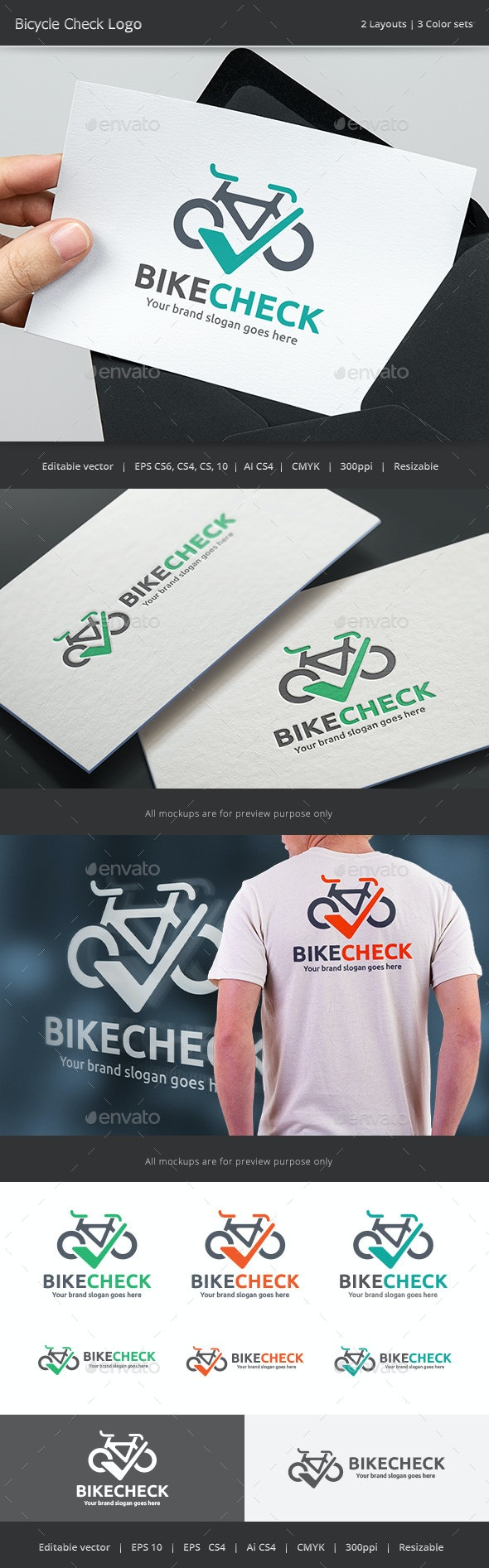 Bicycle Check Logo - Vector Abstract