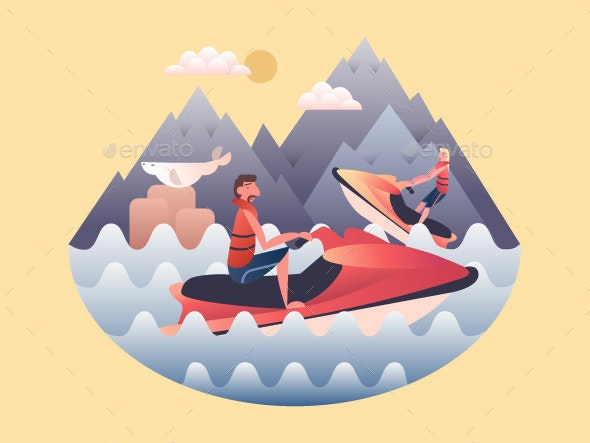 Jetski Design Flat - People Characters