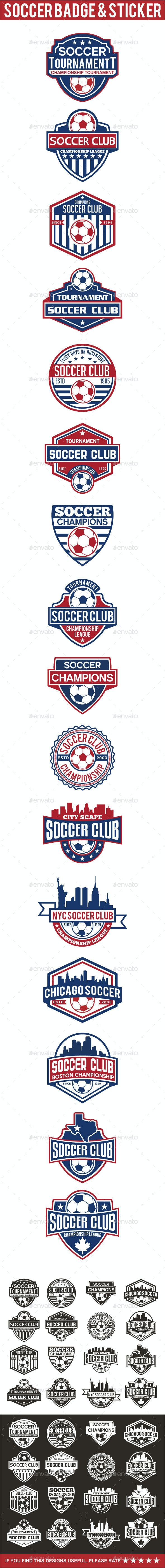 Soccer Badge & Sticker - Badges & Stickers Web Elements