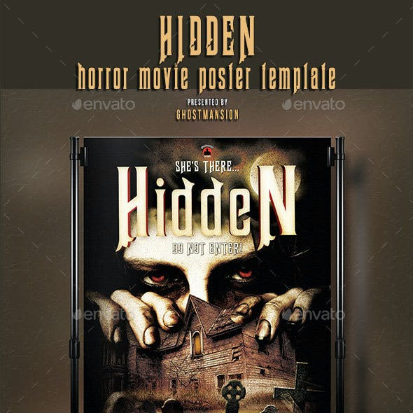 """Hidden"" Horror Movie Poster Template."