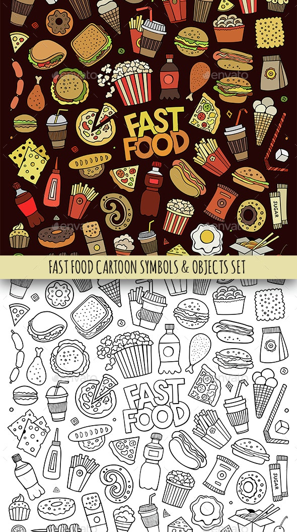 Fast Food Doodles Objects Set - Food Objects