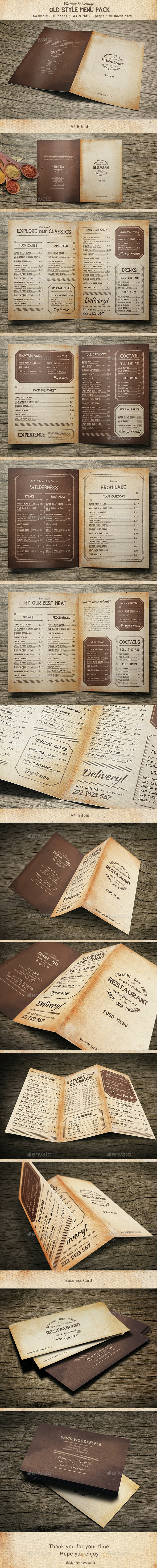 Old Style Menu Pack - Food Menus Print Templates