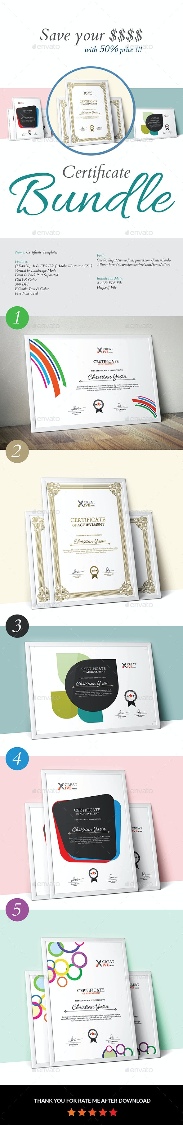 Certificate_Bundle 5 in 1 - Certificates Stationery