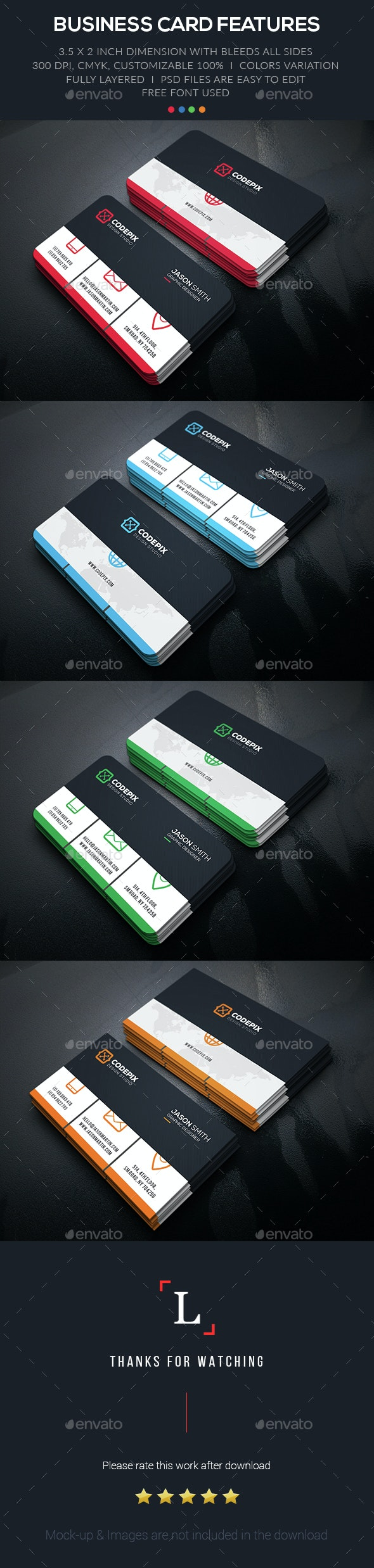Simple Corporate Business Card - Business Cards Print Templates