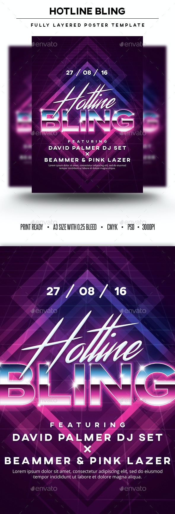 Hotline Bling Poster Template - Clubs & Parties Events