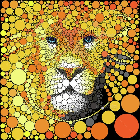 Vector Lion Face. Animal Abstract Portrait.  - Animals Characters
