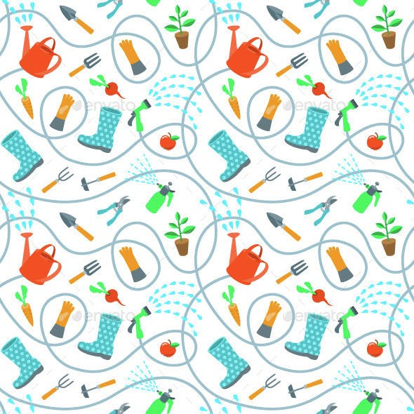 Gardening Tools and Fruits Flat Seamless Pattern