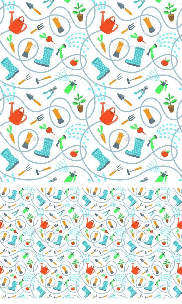 Gardening Tools and Fruits Flat Seamless Pattern - Patterns Decorative