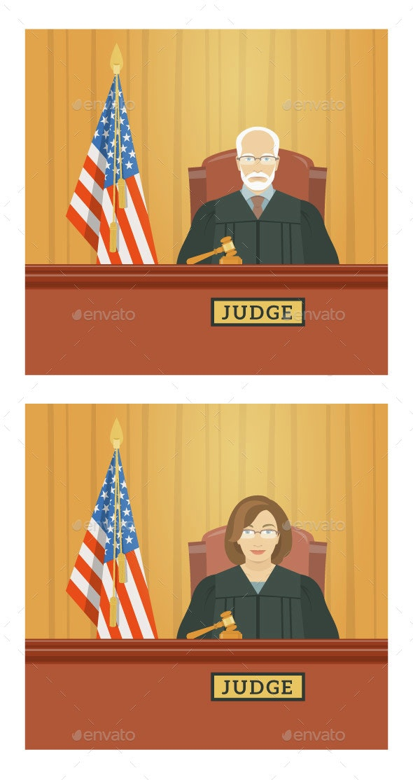 Judge Man and Woman in Courthouse - People Characters