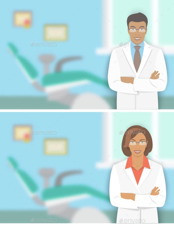 Young Man and Woman Dentists at a Dental Office - People Characters