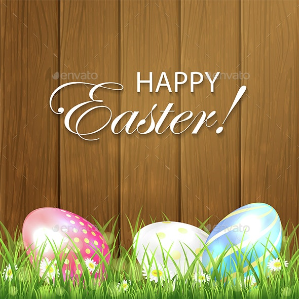 Wooden Easter Background with Three Colorful Eggs - Miscellaneous Seasons/Holidays