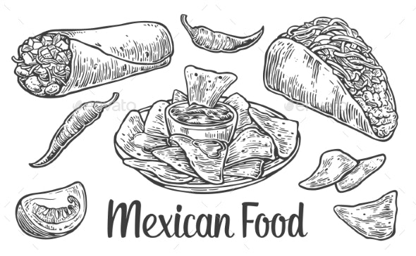 Mexican Traditional Food Set - Food Objects
