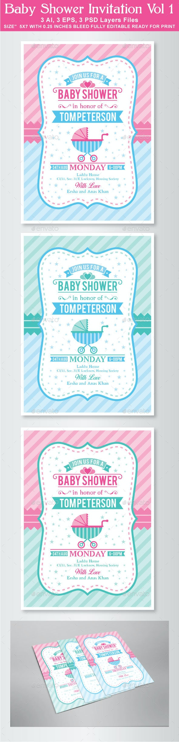 Baby Shower Invitation Vol 1 - Invitations Cards & Invites