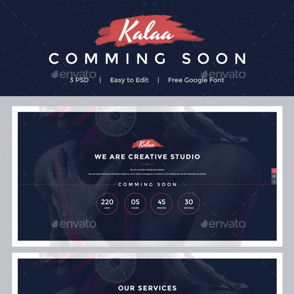Kala - Coming Soon PSD Template