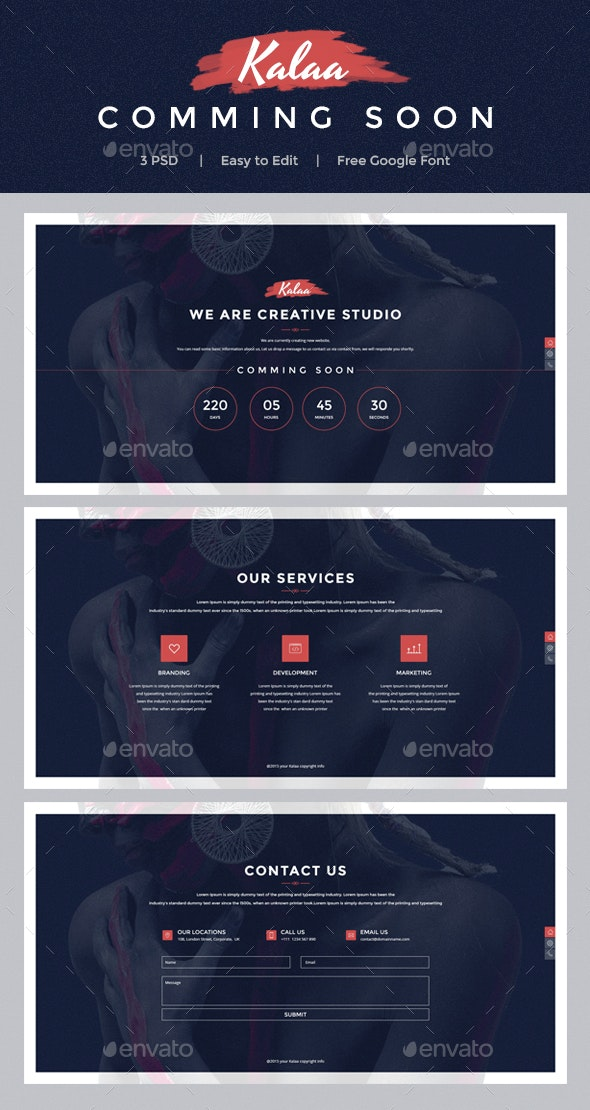 Kala - Coming Soon PSD Template - 404 Pages Web Elements