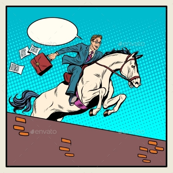 Businessman Horseman On Horse Jumps Over Barrier - Concepts Business