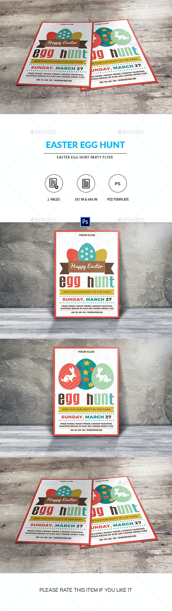 Easter Egg Hunt Party Flyer/Invitation Template - Clubs & Parties Events